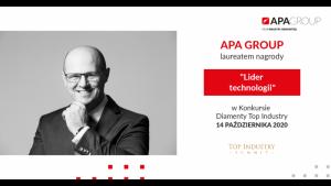 APA Group otrzymała tytuł Lidera technologii w Konkursie Diamenty Top Industry